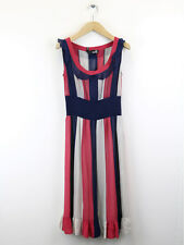 Love Moschino Womens Navy Striped Silk Dress Size UK 6 (UK Size 10)