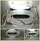 OVERSIZE CLASSIC VINTAGE RETRO Style Clear Lens EYE GLASSES Rimless Gold Frame