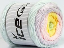 Lot of 2 x 150gr Skeins Ice Yarns CAKES BABY Wool Mint Green Lilac Pink Green