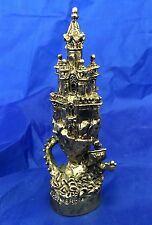 "VTG FELLOWSHIP FOUNDRY PEWTER 24K GOLD PLATED CASTLE & DRAGON FIGURINE 4-5/8""T"