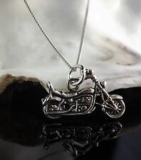 Solid Sterling Silver 925 Jewellery Motorbike Pendant 16/18 Inch Chain Necklace