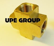 """BRASS PIPE CROSS 4 Way Fitting 1/2"""" Female NPT Pipe Thread Fuel Air Water"""