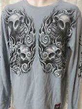 AFFLICTION TEE SHIRT Henley Grey Long Sleeve LARGE Paul Jefferies Live Fast