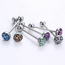 Lovely Creative Barbell Bar Leopard Grain Jewelry 6PCS Tongue Bar Ring