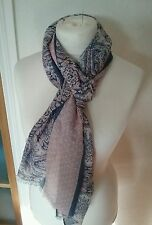 wide fat face scarf wrap coral & blue paisley tile print bnwt  mothers day