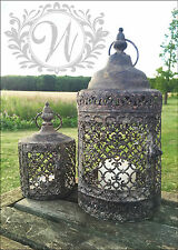 Set of 2 Vintage Moorish Lantern Candle Holder Garden Antique Moroccan Tea Light