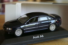 Minichamps 1:43 AUDI a8 d3 noovp blue bleu int: Black Noir Dark Grey 2 4 0 s8