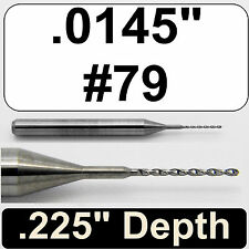 ".0145"" #79 Diameter Solid Carbide Drill 1/8"" Shank Kyocera #105-0145.225"