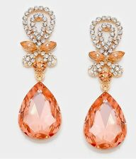 "2.3"" Drop Long Champagne Peach Rose Gold Crystal Rhinestone Earrings Chandelier"