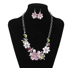 Wedding Bridal Jewelry Flowers Crystal Rhinestone Necklace Earring Set