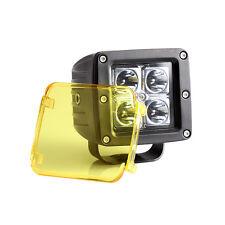 "2x  LED Cover Len Work Driving Flood Light Off Road Amber 3""x3"" 18W 16W cube pod"