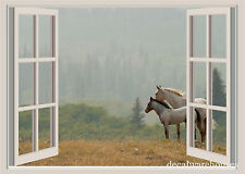 Horses & Mountains Window View Repositionable Color Wall Sticker Wall Mural