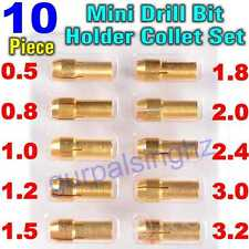 10Pcs Brass Drill Chucks Collet Bits 0.5-3.2mm 4.3mm Shank Dremel Rotary Holder