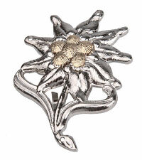 WWII GERMAN OFFICER EDELWEISS MOUNTAIN METAL CAP BADGE INSIGNIA-32210