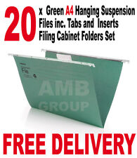 20 x Green A4 Hanging Suspension Files incl. Tabs Inserts Filing Cabinet Folders