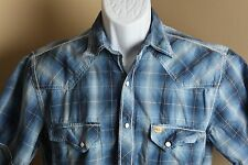 Men's blue and white plaid Larry Mahan western pearl snap shirt s/s Medium M