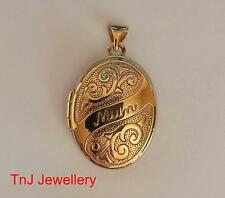 """NEW Genuine Solid  9ct 9k Yellow Gold """"Mum"""" Scroll Embossed Locket Mother"""
