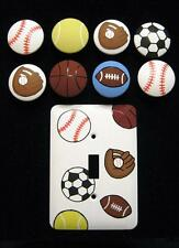 8 - SPORTS BALLS Knobs - INCL TENNIS & BASEBALL MITTS + SINGLE SWITCH PLATE