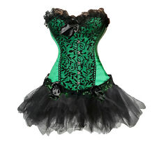 Fancy Gothic Corset Outfit Dress Set Burlesque Party Bustier Lingerie Plus Size