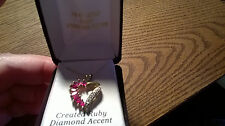 18kt over sterling 925 diamond accent, created ruby heart pendant  necklace IOB