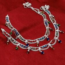 Silverplated Foot Ankle Bracelet Anklet Traditional Indian Payal Women Jewelry