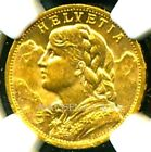 SWITZERLAND 1902 B GOLD COIN 20 FRANCS * NGC CERTIFIED GENUINE MS 62 * LUSTROUS