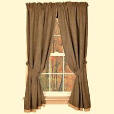 New Primitive Country Gingham Black Tan Check Lace Trim Curtain Window Panels