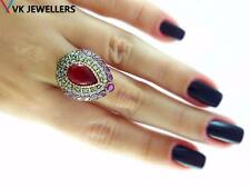 Turkish Traditional Jewelry 925 Silver Handmade Ruby Sultan Ring Size 8 R2299