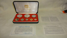 1977 PAPUA NEW GUINEA 8 COIN PROOF SET WITH SILVER 10 AND 5 KINA, SEALED, CASED