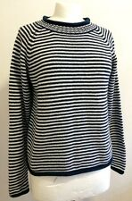 Vintage Womens Jumper Sweater Navy Blue White Striped12-16 uk STRAWBERRY FAIRE