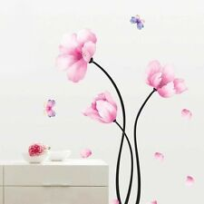Wall Sticker Pink Flower Butterfly Removable Mural Decal Home Room Decor Vinyl