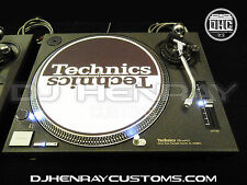 2 custom wrinkle black Technics SL 1200 mk2's white leds laser etch logos