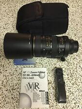 Nikon 80-400mm f/4.5-5.6D ED AF VR Zoom Nikkor Lens with Filter