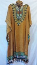 "Women Clothing Long Dress Kaftan Boho Gown Mustard Gold One Size Plus 68"" around"