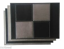 4 x Faux Leather Placemats With Matching Coasters - Reversible Silver & Black
