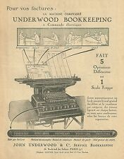 Publicité UNDERWOOD BOOKKEEPING machine à écrire typewriter 1927 réclame