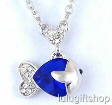 18K WHITE GOLD PLATED BLUE FISH HEART PENDANT NECKLACE USE SWAROVSKI CRYSTALS