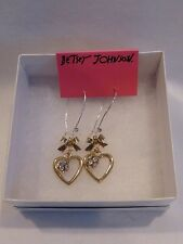 AUTHENTIC BETSEY JOHNSON CRYSTAL HEART EARRINGS NWT $35