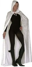 Deluxe White Velvet Hooded Cape Medieval Wedding Cloak  Fancy Dress 150 cm