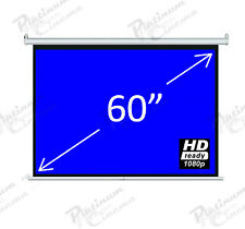 "Brand New 60"" Electric Motorized HD Projection Screen Remote Matt White 4:3"