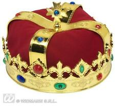 Gold Royal Crown With Gems King Queen Prince Princess Regal Fancy Dress