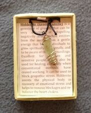 Hiddenite Gemstone Pendant in spiral cage in gift box - NEW - *Healing*