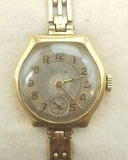 VINTAGE CYMA LADIES SOLID 9CT GOLD CASED AND BRACELET WRIST WATCH - WORKING