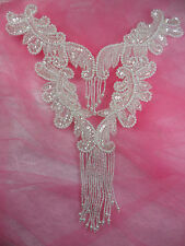 0510 Crystal Bodice Yoke Sequin Beaded Applique Patch Bridal Motif 10""