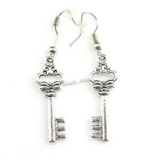Pair of Antique  Charm Antique Silver  Alloy Heart Key Earrings(LB-143391)