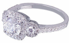 18k White Gold Round Forever One Moissanite and Diamond Engagement Ring 1.70ct