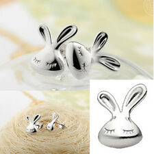 Rabbit Shaped Fashion 925 Sterling Silver Cute Stud Earrings Small White Rabbit