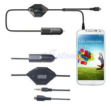 3.5mm Micro USB FM Transmitter+Car Charger Audio Adapter For Samsung MP3 YWL