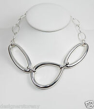 Simon Sebbag Sterling Silver Collar Open Abstract  Necklace Chain 18""