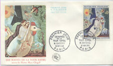 FRANCE FDC - 1398 1 CHAGALL MARIES DE LA TOUR EIFFEL PARIS PJ 9 Nov 1963 - LUXE